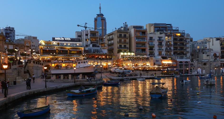 Spinola Bay in St Julian's, Malta