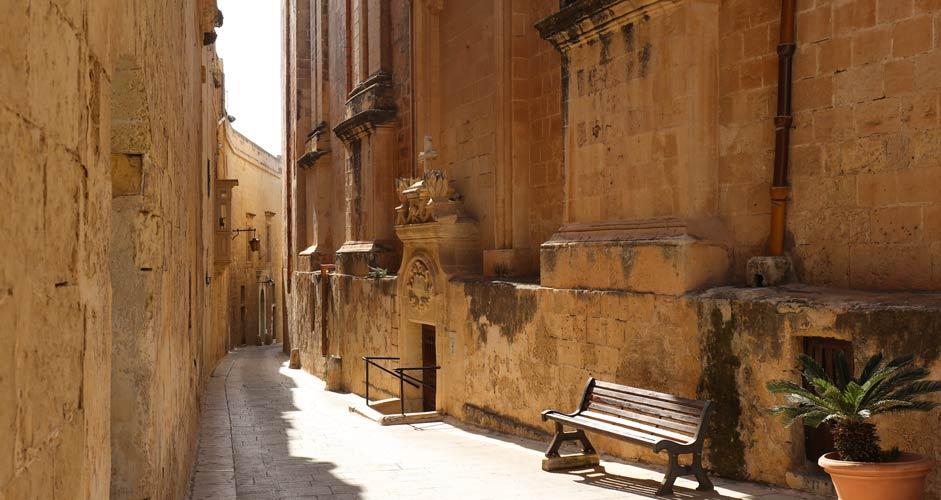 Silent streets of Mdina in Malta
