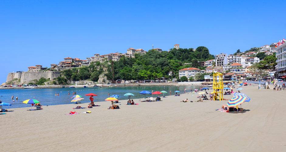 Ulcinj beach and old town