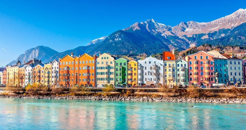 Innsbruck, mountains and river