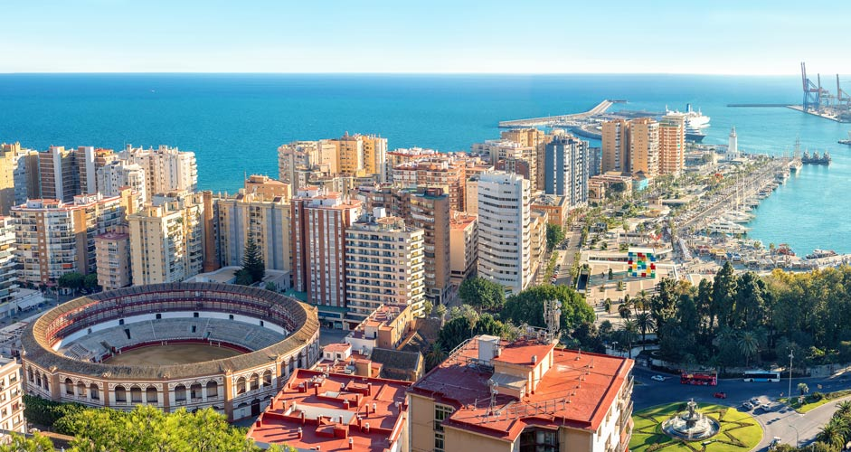 Aerial picture of Malaga, Spain